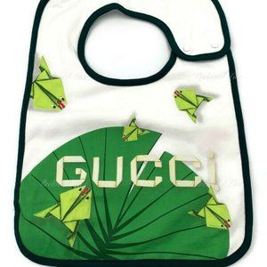Authentic Gucci White/Green Baby Bib infant